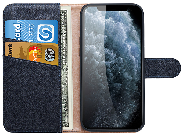 Premium Leather Wallet Case for Apple iPhone 12 - Midnight Blue