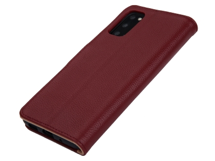 Premium Leather Wallet Case for Samsung Galaxy S20 FE 5G - Burgundy Leather Wallet Case