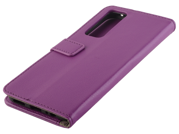 Synthetic Leather Wallet Case with Stand for vivo Y70 - Purple Leather Wallet Case