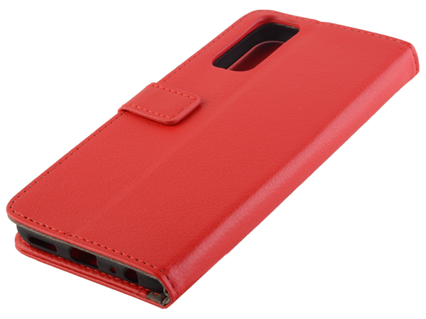 Synthetic Leather Wallet Case with Stand for vivo Y20s - Red Leather Wallet Case
