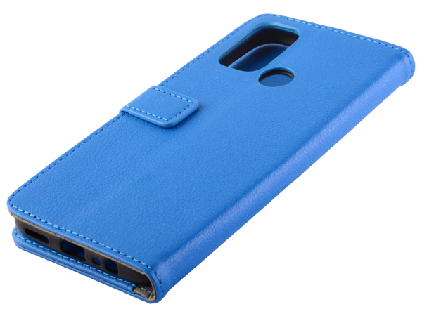 Synthetic Leather Wallet Case with Stand for OPPO A53s/A53 (2020) - Blue Leather Wallet Case