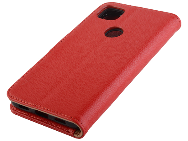 Premium Leather Wallet Case for Google Pixel 5 - Red Leather Wallet Case