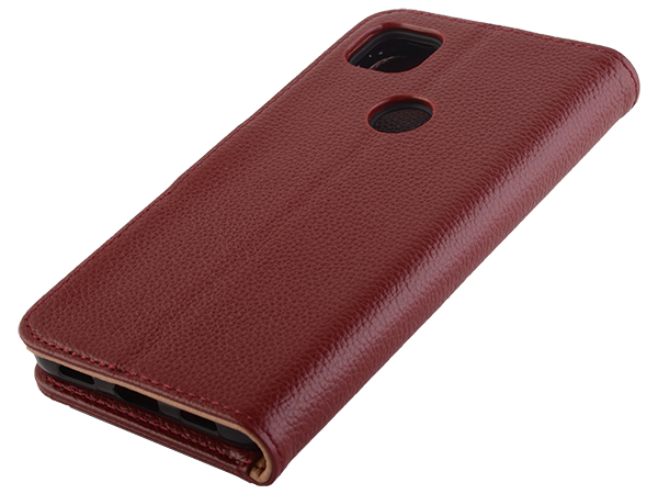 Premium Leather Wallet Case for Google Pixel 5 - Burgundy Leather Wallet Case