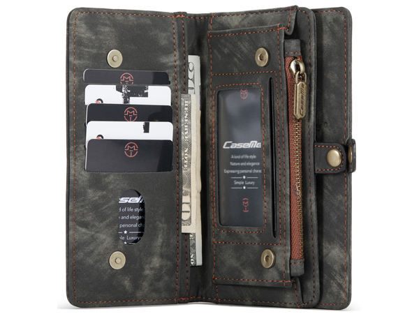 CaseMe 2-in-1 Synthetic Leather Wallet Case for iPhone 12 Mini - Khaki/Grey