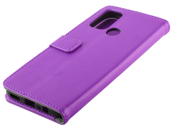 Synthetic Leather Wallet Case with Stand for OPPO A53s/A53 (2020) - Purple Leather Wallet Case