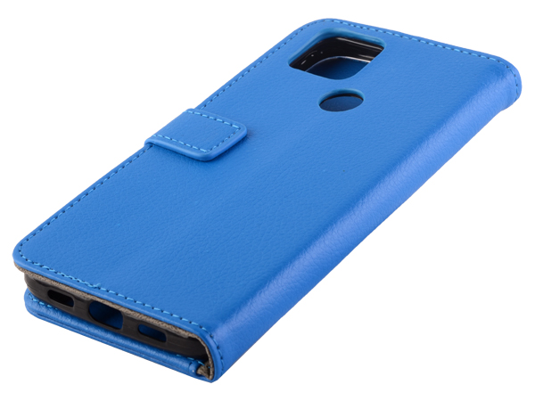 Synthetic Leather Wallet Case with Stand for Google Pixel 4a 5G - Blue Leather Wallet Case