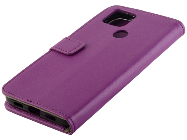 Synthetic Leather Wallet Case with Stand for Google Pixel 4a 5G - Purple Leather Wallet Case