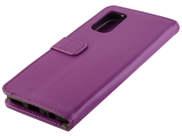 Synthetic Leather Wallet Case with Stand for Realme 7 Pro - Purple Leather Wallet Case