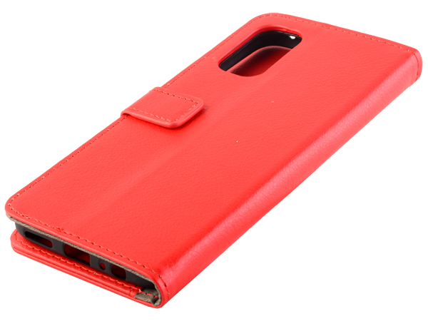 Synthetic Leather Wallet Case with Stand for Realme 7 Pro - Red Leather Wallet Case