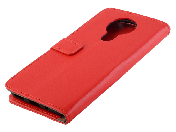 Synthetic Leather Wallet Case with Stand for Nokia 3.4 - Red Leather Wallet Case