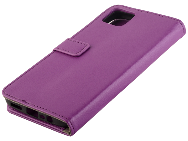 Synthetic Leather Wallet Case with Stand for Realme C11 - Purple Leather Wallet Case