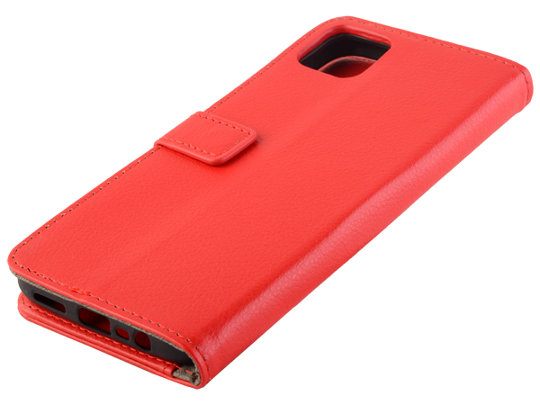 Synthetic Leather Wallet Case with Stand for Realme C11 - Red Leather Wallet Case