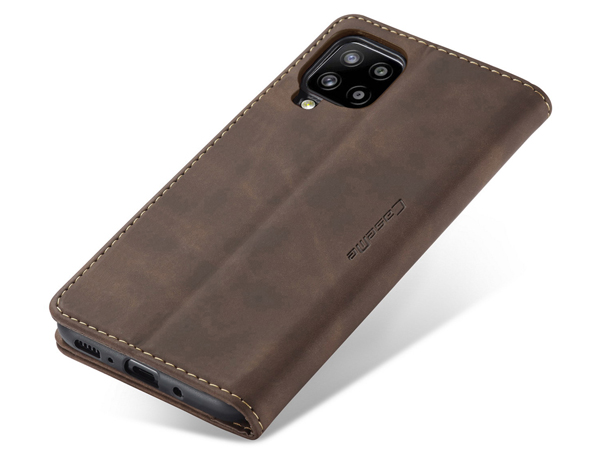 CaseMe Slim Synthetic Leather Wallet Case with Stand for Samsung Galaxy A42 5G - Chocolate
