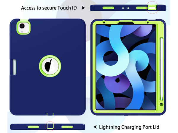 Impact Case for iPad Air 4 10.9 (2020) - Navy/Lime