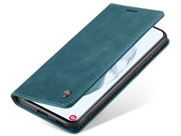 CaseMe Slim Synthetic Leather Wallet Case with Stand for Samsung Galaxy S21 5G - Teal Leather Wallet Case