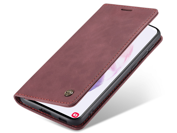CaseMe Slim Synthetic Leather Wallet Case with Stand for Samsung Galaxy S21 5G - Burgundy Leather Wallet Case