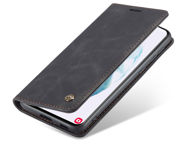 CaseMe Slim Synthetic Leather Wallet Case with Stand for Samsung Galaxy S21 5G - Charcoal Leather Wallet Case