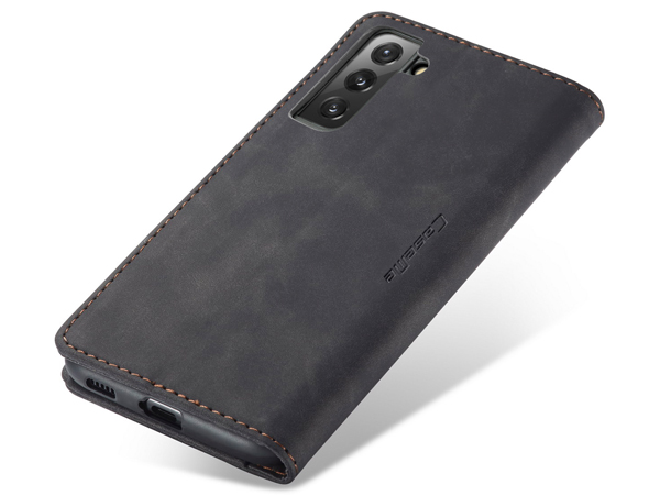 CaseMe Slim Synthetic Leather Wallet Case with Stand for Samsung Galaxy S21 5G - Charcoal