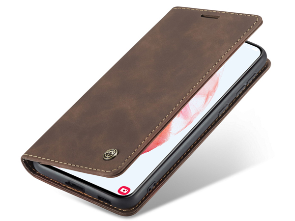 CaseMe Slim Synthetic Leather Wallet Case with Stand for Samsung Galaxy S21 5G - Chocolate Leather Wallet Case
