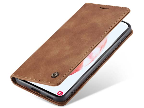 CaseMe Slim Synthetic Leather Wallet Case with Stand for Samsung Galaxy S21 5G - Tan Leather Wallet Case