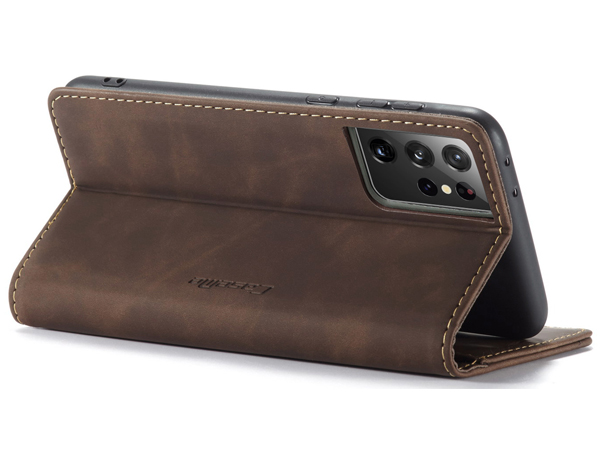 CaseMe Slim Synthetic Leather Wallet Case with Stand for Samsung Galaxy S21 Ultra 5G - Chocolate