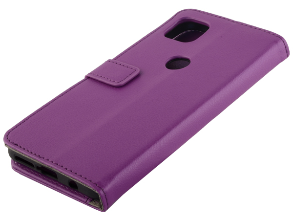 Synthetic Leather Wallet Case with Stand for Motorola Moto G 5G - Purple Leather Wallet Case