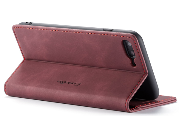 CaseMe Slim Synthetic Leather Wallet Case with Stand for iPhone 8 Plus/7 Plus - Burgundy Leather Wallet Case