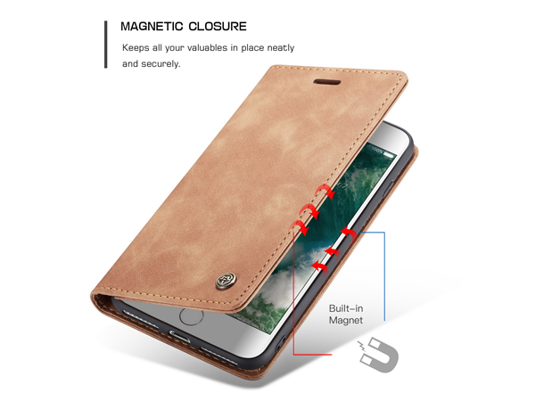 CaseMe Slim Synthetic Leather Wallet Case with Stand for iPhone 8 Plus/7 Plus - Tan