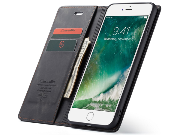 CaseMe Slim Synthetic Leather Wallet Case with Stand for iPhone 6 Plus/6s Plus - Charcoal