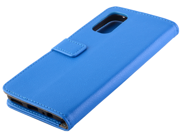 Synthetic Leather Wallet Case with Stand for Realme 7 5G - Blue Leather Wallet Case