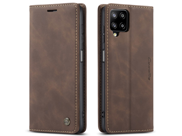 CaseMe Slim Synthetic Leather Wallet Case with Stand for Samsung Galaxy A12 - Chocolate