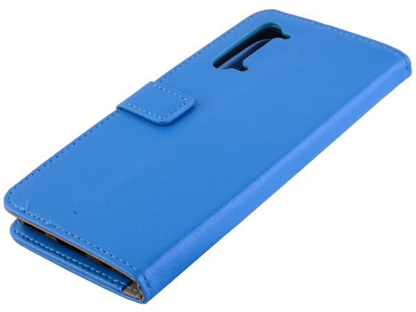 Synthetic Leather Wallet Case with Stand for OPPO Find X2 Lite - Blue Leather Wallet Case