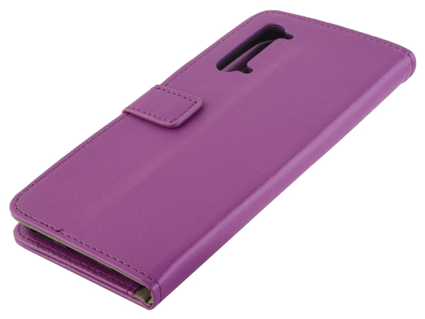 Synthetic Leather Wallet Case with Stand for OPPO Find X2 Lite - Purple Leather Wallet Case