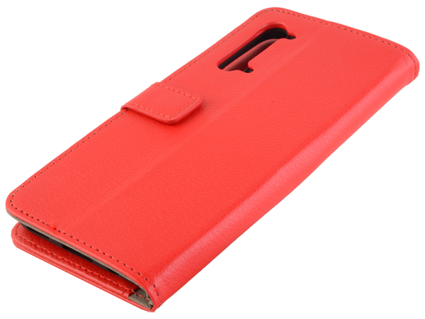 Synthetic Leather Wallet Case with Stand for OPPO Find X2 Lite - Red Leather Wallet Case