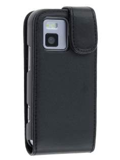Synthetic Leather Flip Case for Nokia N97 mini - Black Leather Flip Case