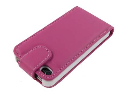 iPhone 4/4S Synthetic Leather Flip Case - Pink