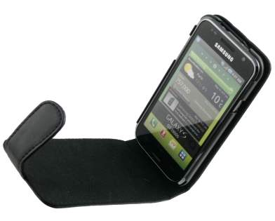 Samsung I9000 Galaxy S Synthetic Leather Flip Case - Black