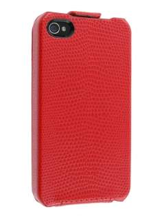 Synthetic Leather Flip Case for iPhone 4/4S - Red Leather Flip Case