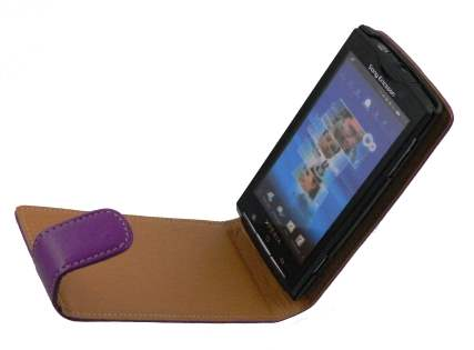 Sony Ericsson Xperia x10 Synthetic Leather Flip Case - Purple