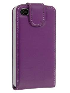 iPhone 4/4S Synthetic Leather Flip Case - Purple