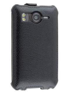 Slim Synthetic Leather Flip Case for HTC Desire HD - Classic Black Leather Flip Case