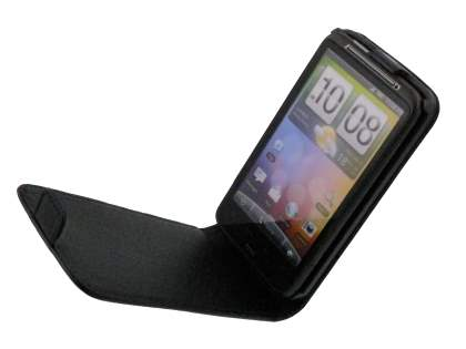 HTC Desire HD Synthetic Leather Flip Case - Black