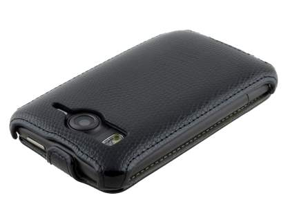 HTC Desire HD Slim Synthetic Leather Flip Case - Classic Black