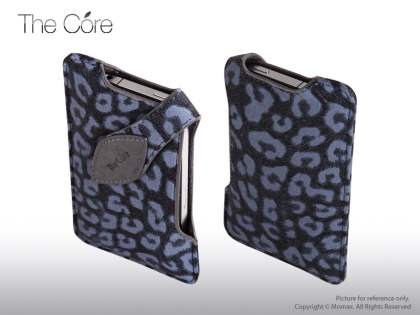 MOMAX The Core Synthetic Leather Case for iPhone 4/4S - Black/Blue Leather Slide-in Case