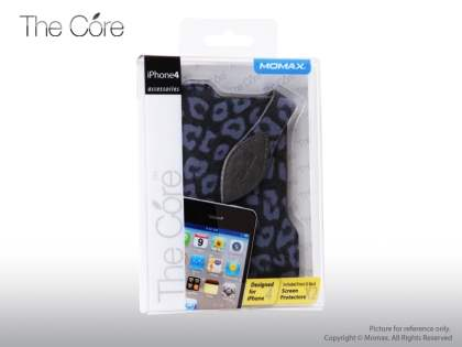 MOMAX The Core Synthetic Leather Case for Apple iPhone 4/iPhone 4S - Black/Blue
