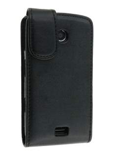 Synthetic Leather Flip Case for Samsung S5620 Monte - Black Leather Flip Case
