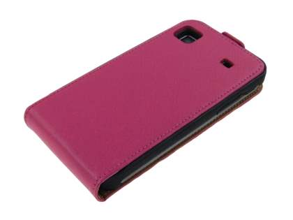 Samsung I9000 Galaxy S Slim Synthetic Leather Flip Case - Hot Pink