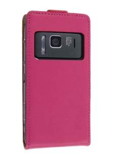 Nokia N8 Slim Synthetic Leather Flip Case - Hot Pink Leather Flip Case