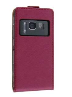 Nokia N8 Slim Synthetic Leather Flip Case - Red Leather Flip Case