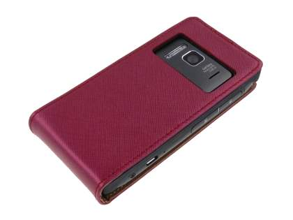 Nokia N8 Slim Synthetic Leather Flip Case - Red